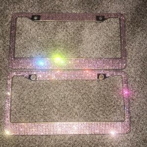 Pink diamond license plate covers